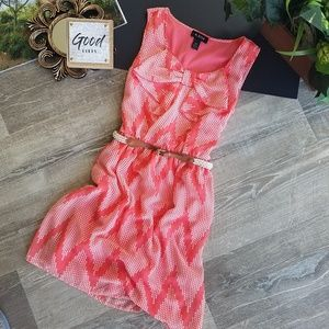 A.Byer Sleeveless Belted Coral Bow Sheath Dress